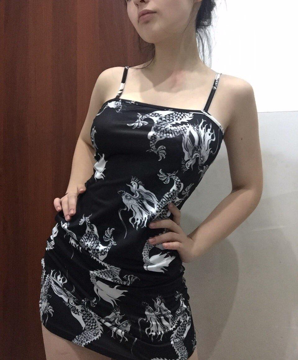 Pastel gothic E-girl Dragon Pattern Sleeveless Dress photo review