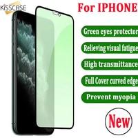 Protector de pantalla para teléfono móvil iPhone, Protector de pantalla de vidrio templado con protección contra rayos azules 9H para iPhone 11 Pro X XS MAX XR 11 Pro Max 6 6 S 6 s 7 8 Plus 11