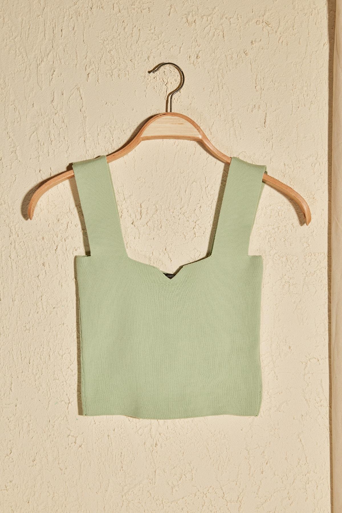 Trendyol Square Collar Knitwear Bluz TWOSS20BZ1667|Blouses & Shirts| - AliExpress