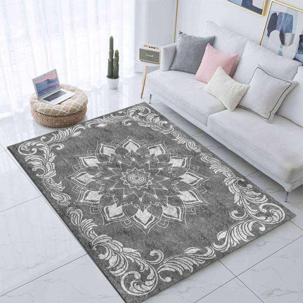 Else Gray White Ethnic Morrocan Design  3d Print Non Slip Microfiber Living Room Modern Carpet Washable Area Rug Mat