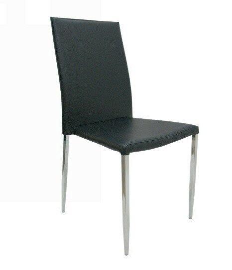 HOTEL Chair, Chrome Similpiel Hard Black