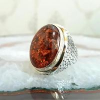 925 sterling silver Amber Stone Men 'S Ring