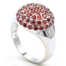 16x16mm SheCrown 5g New Arrival Round Created Orange Spessartine Garnet Ladies Silver Ring