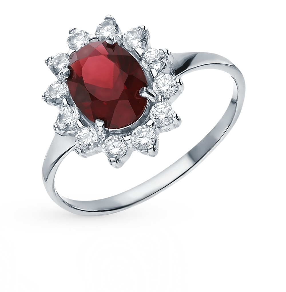 Silver Ring With Cubic Zirconia And Garnet Sunlight Sample 925