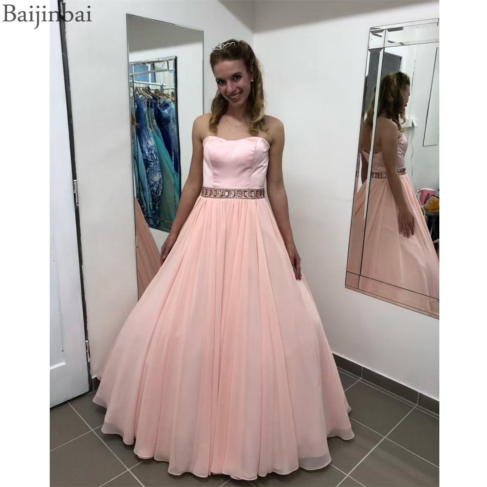 Baijinbai une ligne chérie robes de bal Satin haut sans manches cristaux femmes robes de soirée robes formelles longue fête robe de bal