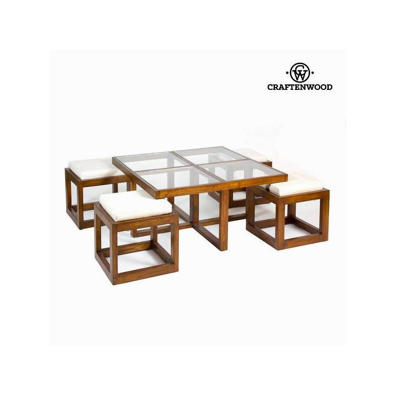 Center Table With 4 Stools-Collection Serious Line By Craftenwood