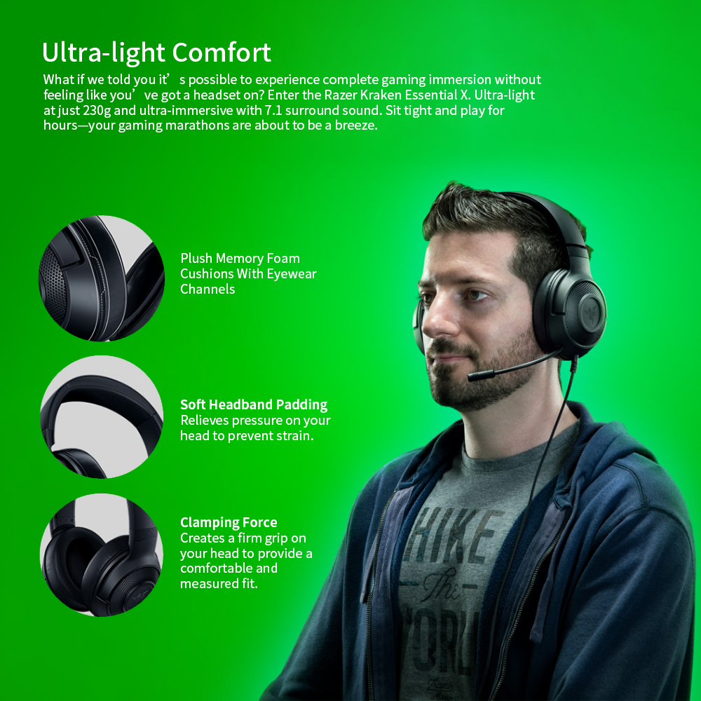 Razer Kraken X Ultralight Headphone Noise Over-Ear wired Gaming Headset Analog 3.5 mm jack 7.1 Surround Sound with Mic, Xbox,PS4 6