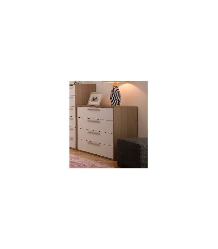 Comfortable 4 Drawers Oak Cortez/White.