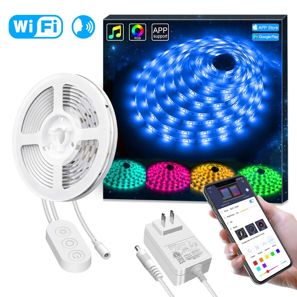 APP Waterproof 16.4ft RGB LED Light Strip WiFi Sync with Music, 16 Million Colors 5050 LED Lights for Home, Kitchen, TV, Party