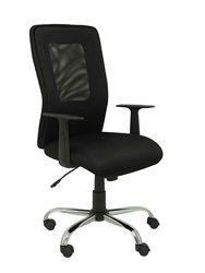 Ergonomiczne krzesło biurowe z mechanizmem wahacza  stałymi ramionami i regulowaną siateczką o regulowanej wysokości na