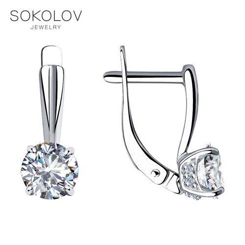 SOKOLOV Silver Drop Earrings With Stones With Cubic Zirconia Fashion Jewelry Silver 925 Women's/men's, Male/female, Long Earrings