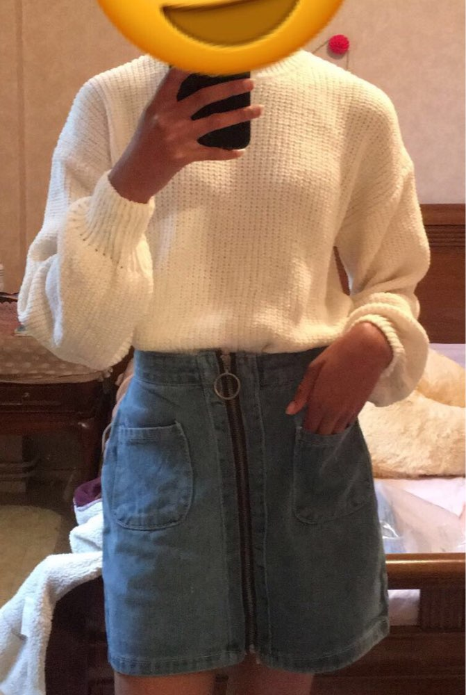 Vintage High Waist Denim Skirt Women Mini A Line Skirts Female Summer Blue Fashion Casual Zipper Big Pocket Jean Skirts Women photo review