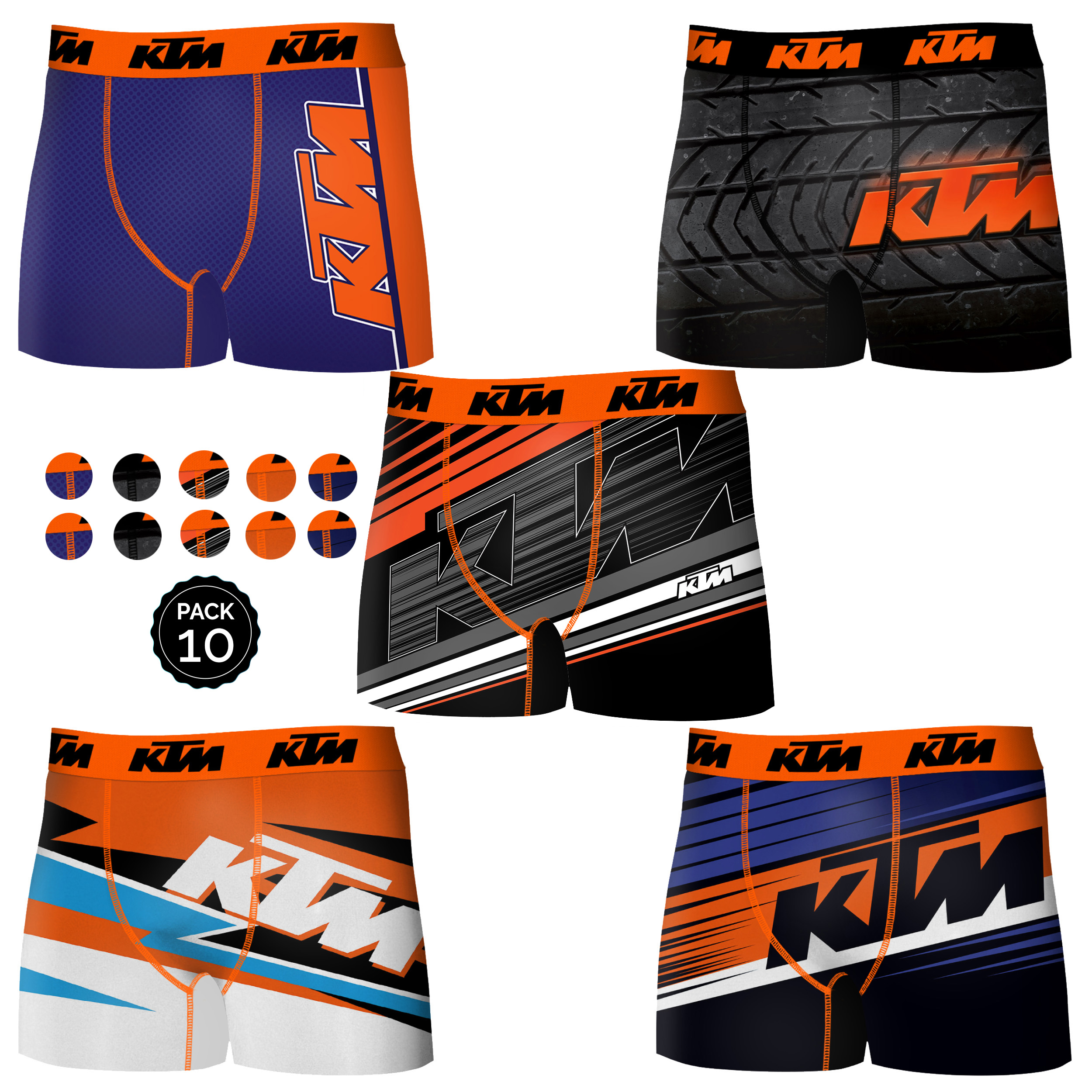 KTM Boxer Surprise Pack Of 5 Or 10 Units In Various Colors For Men