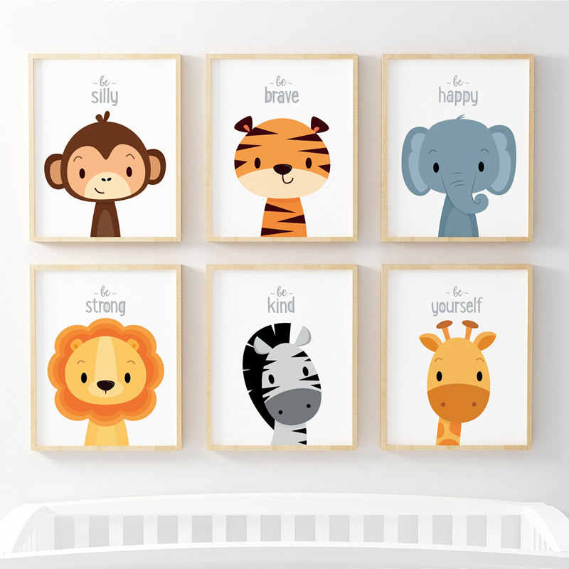 Poster Wall Art Canvas Painting Jungle Animal Cartoon Posters And Prints Cute Wall Pictures For Kids Baby Room Home Decor