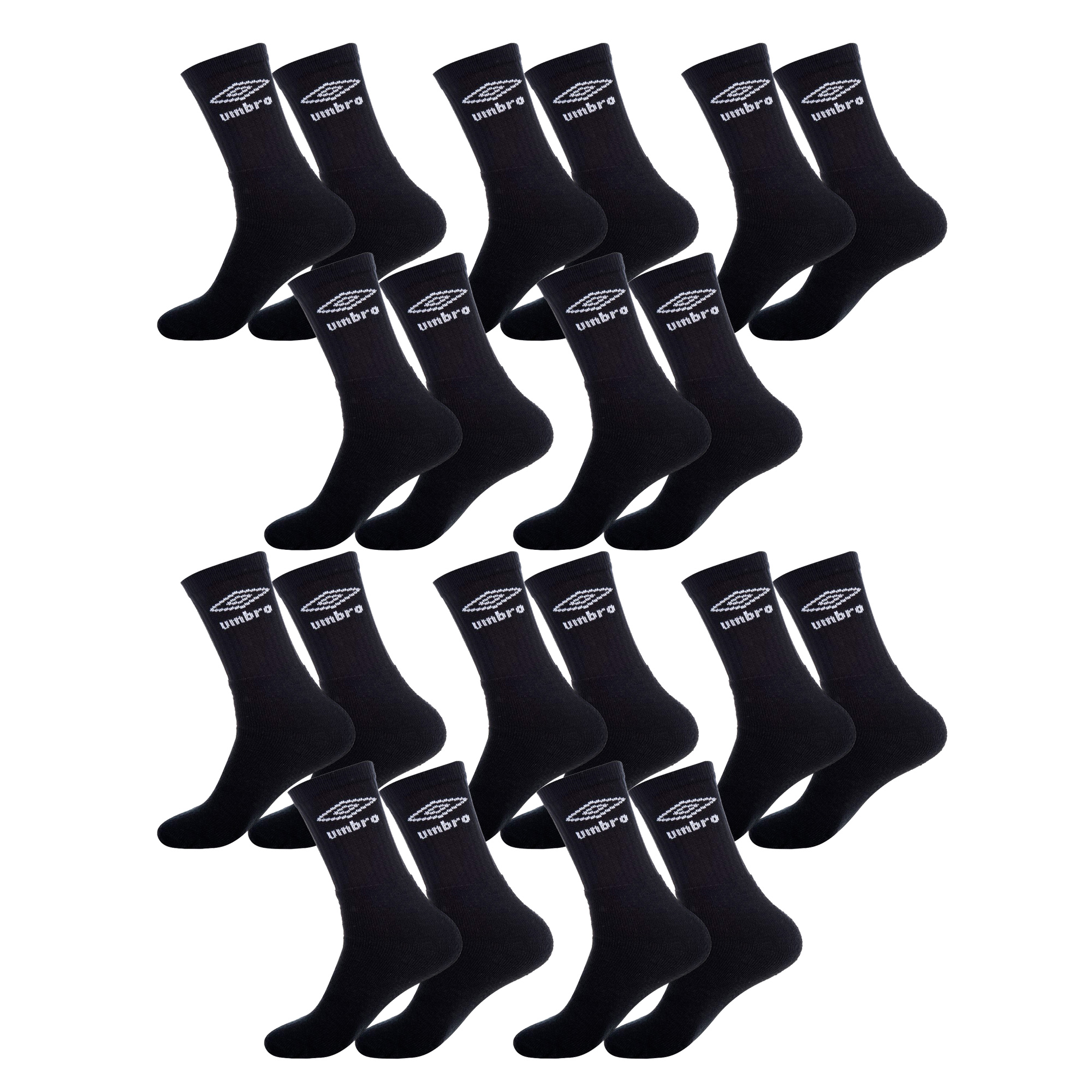 UMBRO Pack 10 pairs of long socks made of cotton, polyester and elastane in black color-1