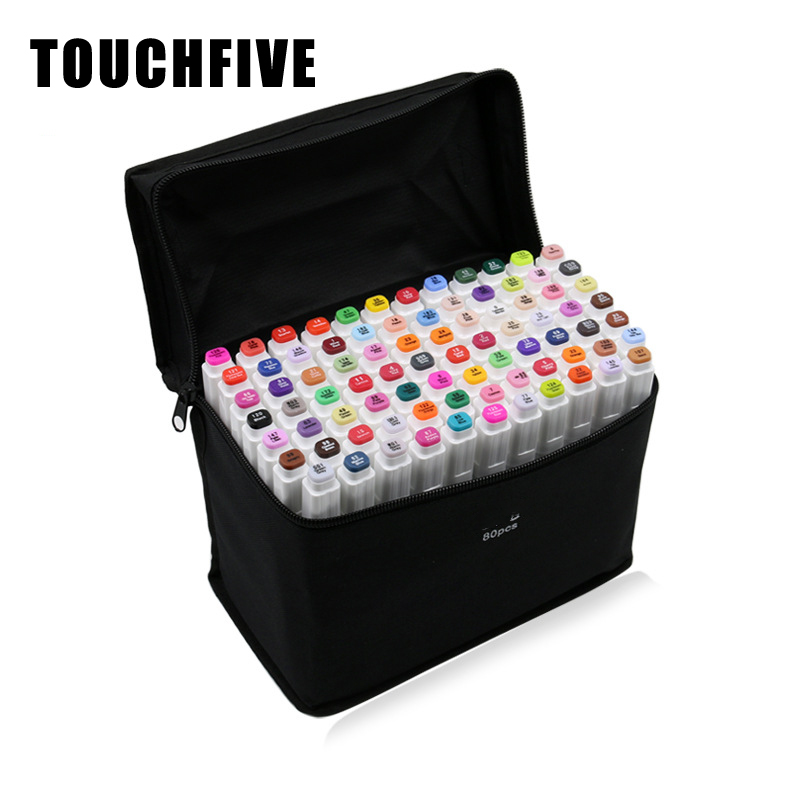TOUCHFIVE Art Marker Pens 30 40 60 80 168 Colors Pen Alcohol-Based Paint Marker Sketch Draw Manga Design Markers Art Supplies