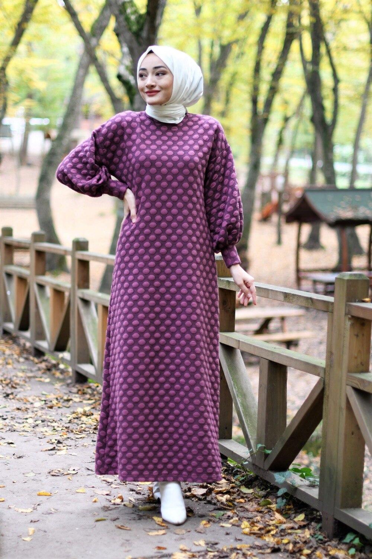 ponpon-detay-elbise-mor-gunluk-tesettur-elbise-15556-45-B