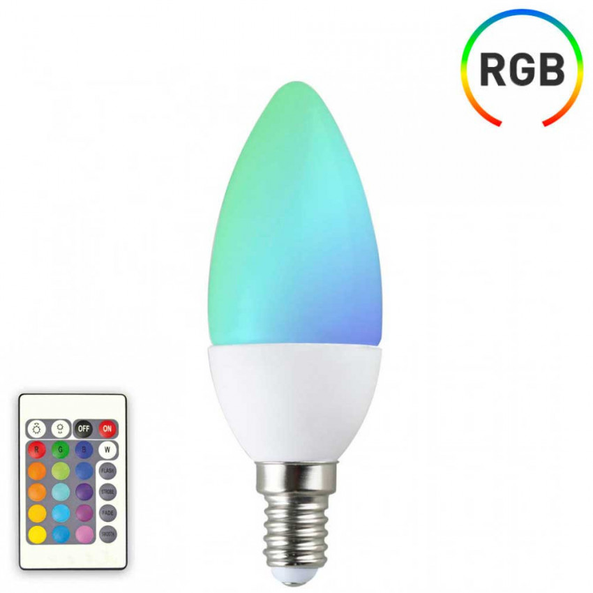 LED Candle Bulb E14 6W Equi.40W 470lm RGB 25000H 7hSevenOn