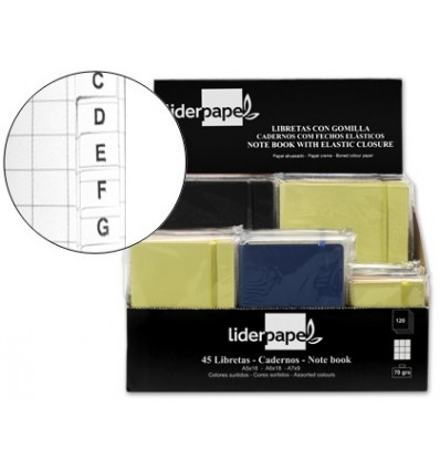 NOTEPAD LEADERPAPER IMITATION LEATHER 120 SHEETS 70G/M2 FRAME 4MM + INDEX DISPLAY 45 DRIVES COLORS ASSORTED