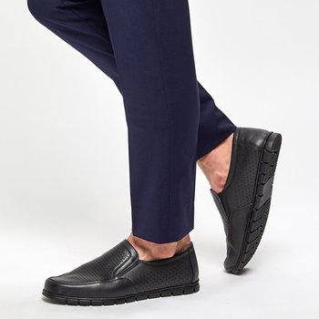 FLO 91 100540 M czarne męskie klasyczne buty Polaris 5 Point tanie i dobre opinie Polaris 5 Nokta Sztuczna skóra