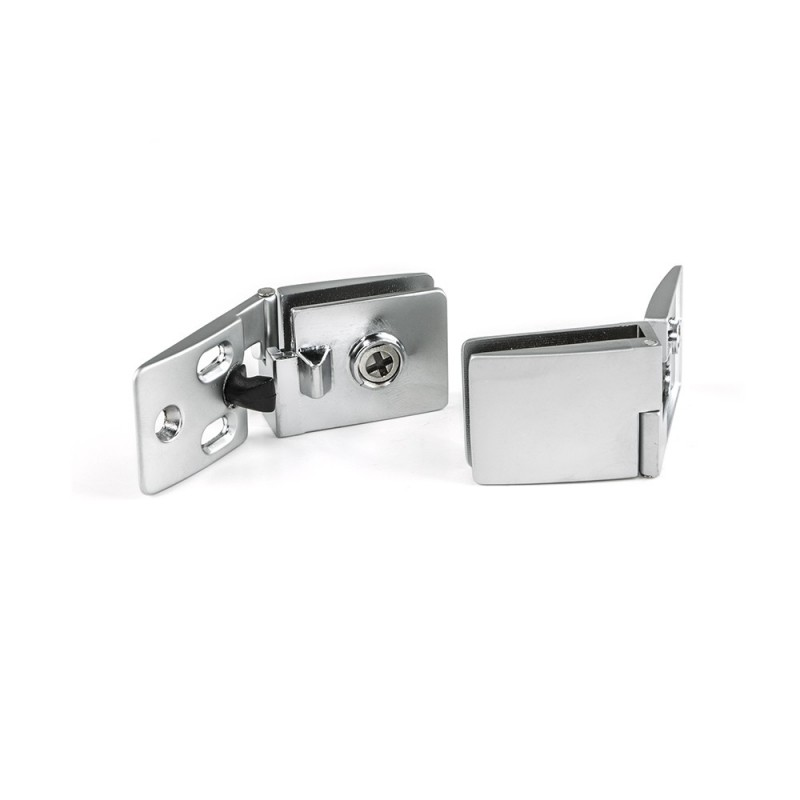 Lot Of 2 Hinges Emuca For Glass Doors Inner Central In Chrome Finish Matte