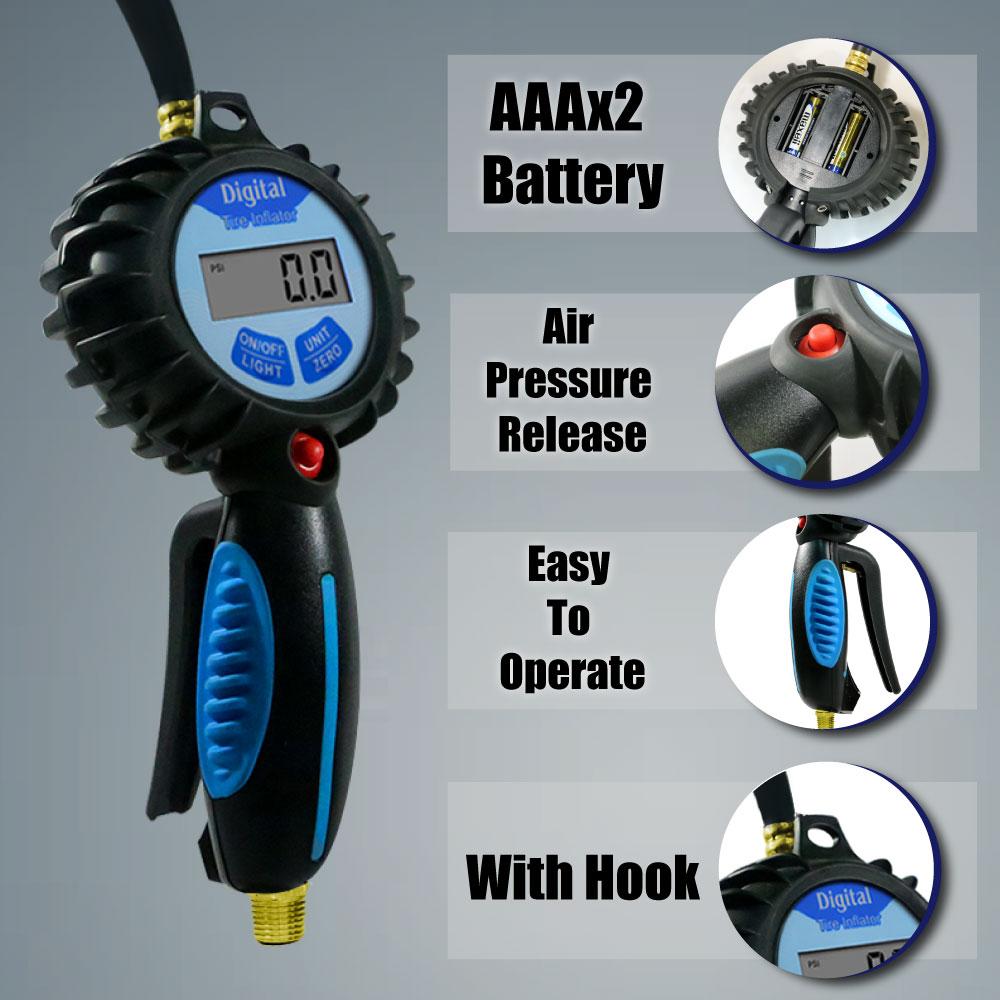 CE Pro Inflador de neumáticos digital con medidor de luz de fondo - Accesorios para herramientas eléctricas - foto 2