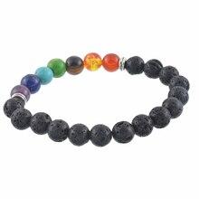 Браслет из натурального камня, энергетический вулканический камень, чакра, красочный браслет из семи импульсов