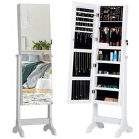Jewelry Cabinet  Full Body Mirror Jewelry Organizer with Large Capacity Lockable Standing Jewelry Armoire  4 Angle Adjustable|Wohnzimmerschränke|Möbel -