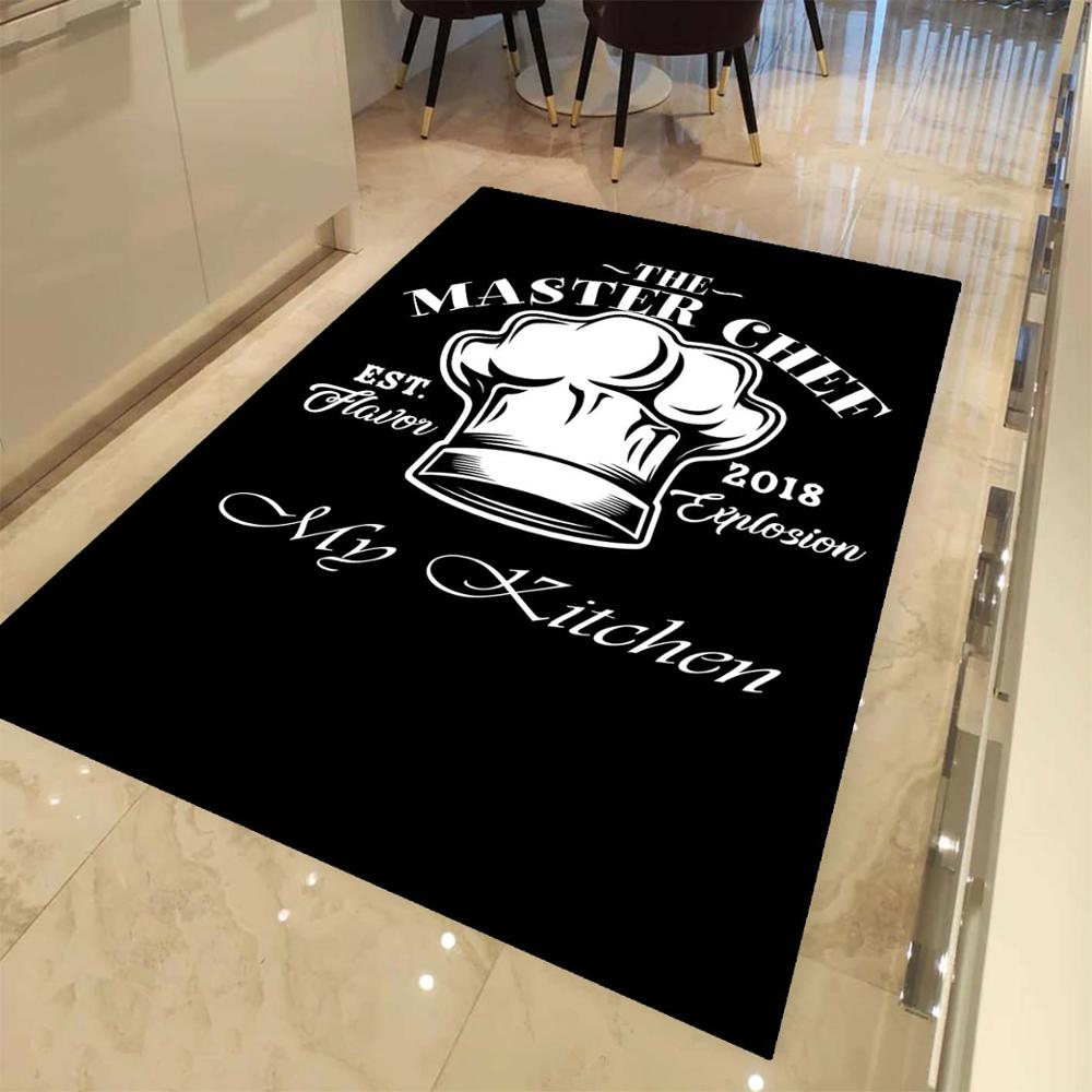 Else Black White Master Cheff My Kitchen 3d Print Non Slip Microfiber Kitchen Modern Decorative Washable Area Rug Mat