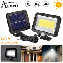 Auoyo 100LED الشمسية إضاءة جدارية خارجية الإضاءة محس حركة COB LED ضوء الشمس مقاوم للماء مصباح الشارع التعريفي الجدار مصباح