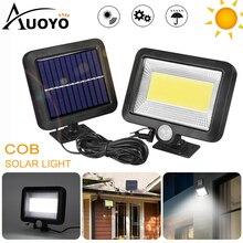 Auoyo 100led luz de parede solar ao ar livre iluminação sensor de movimento cob led luz solar lâmpada de rua à prova dwaterproof água lâmpada de parede indução