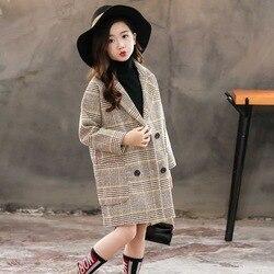 여자 코트 여자를위한 패션 격자 무늬 양모 코트 더블 브레스트 아이 겉옷 여자를위한 가을 두꺼운 겨울 옷 6 8 10 12 14
