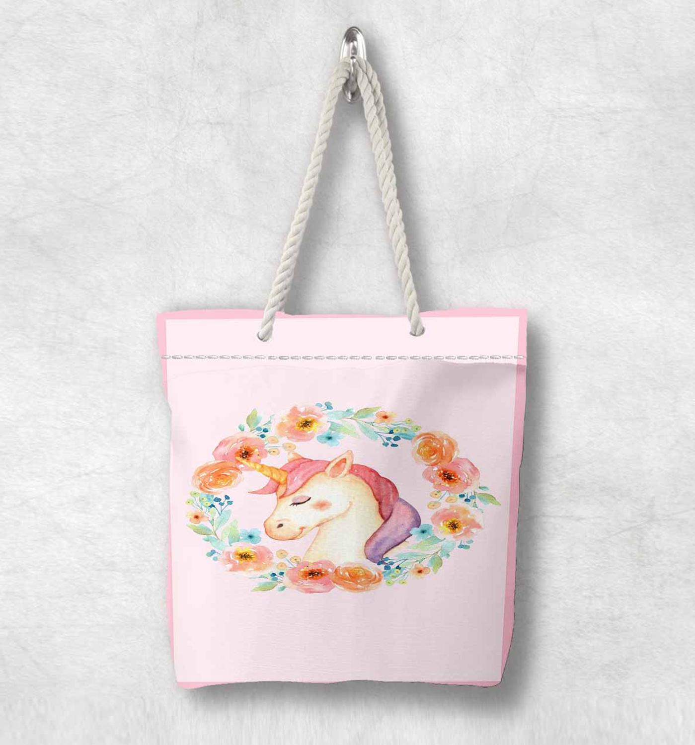 Else Pink Orange Flowers Unicorn Horses Scandinavian White Rope Handle Canvas Bag  Cartoon Print Zippered Tote Bag Shoulder Bag