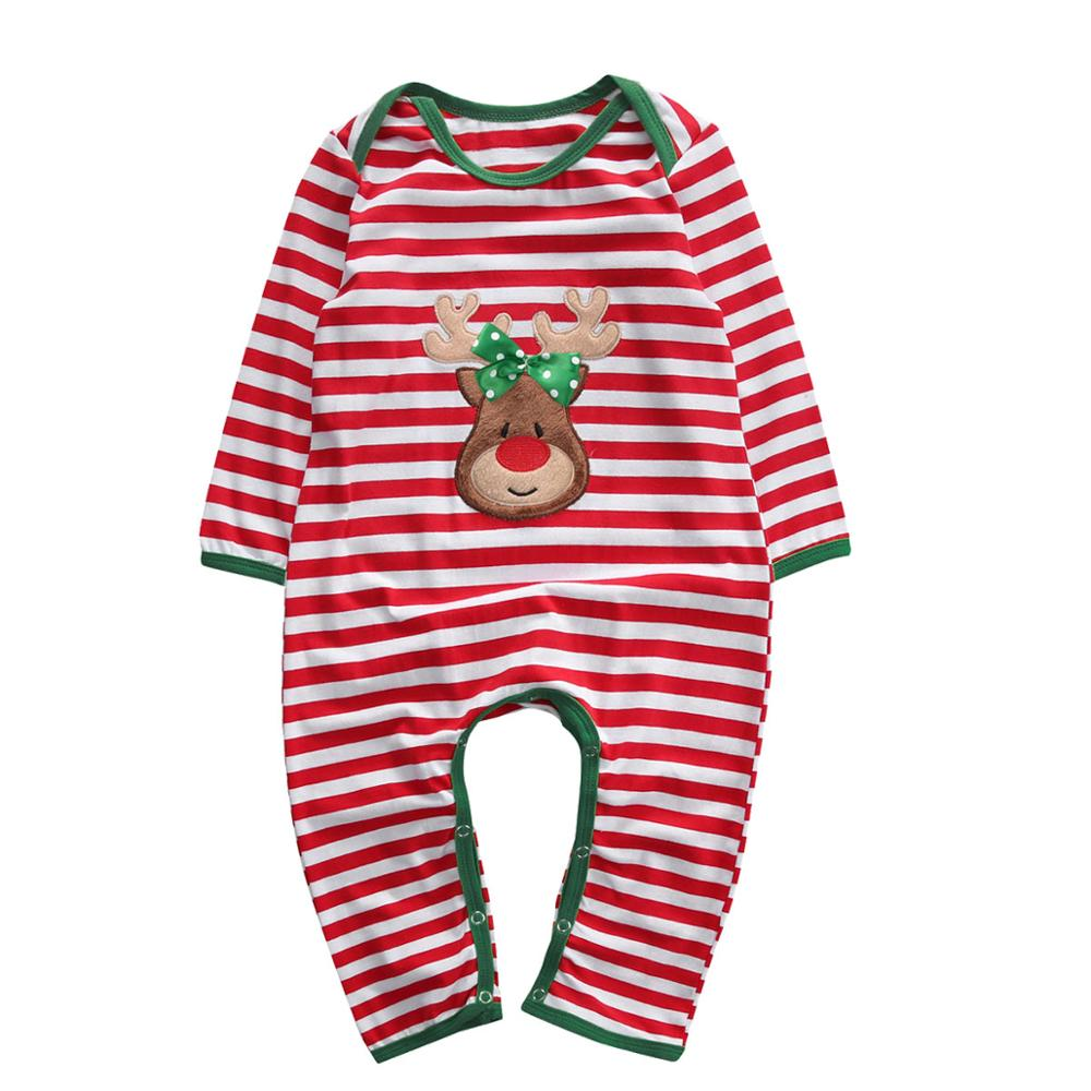 Christmas Baby Girls Boys Clothes Newborn Infant baby Striped   Romper   Kids Christmas Costume Clothing 0-24M