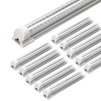 Clear Cover, Hight Output, Linkable Shop Lights, T8 LED Tube Lights, LED Shop Lights for Garage 8 Foot with Plug (Pack of 10)