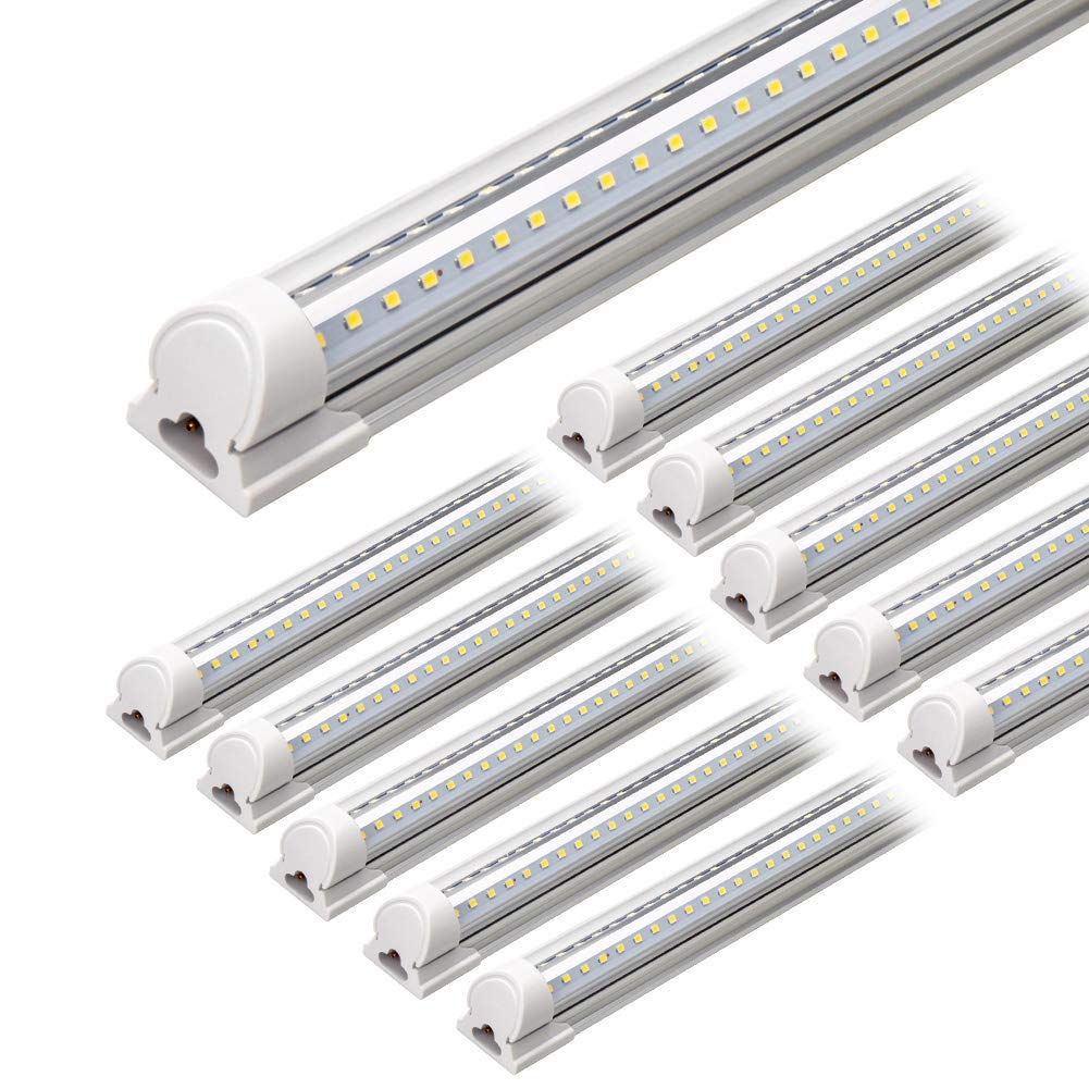 Clear Cover, Hight Output, Linkable Shop Lights, <font><b>T8</b></font> LED Tube Lights, LED Shop Lights for Garage 8 Foot with <font><b>Plug</b></font> (Pack of 10) image