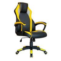 كرسي مكتب الألعاب الأسود والأصفر مكتب عالية ، إمالة ، مماثلة وشبكة الطاقة شحن مجاني