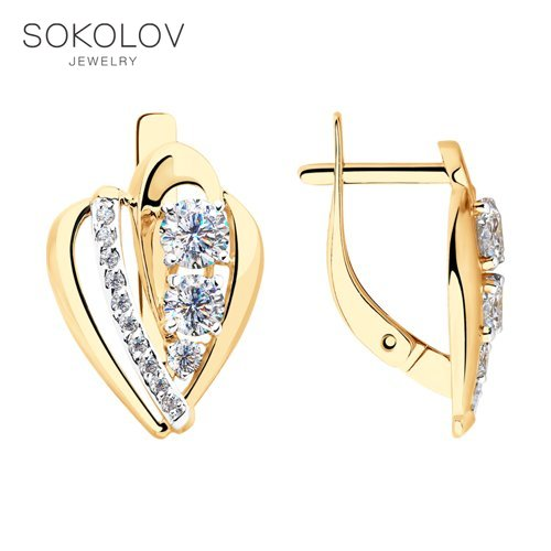 Drop Earrings With Stones With Stones With Stones With Stones With Stones SOKOLOV Gold With Cubic Zirconia Fashion Jewelry 585 Women's Male