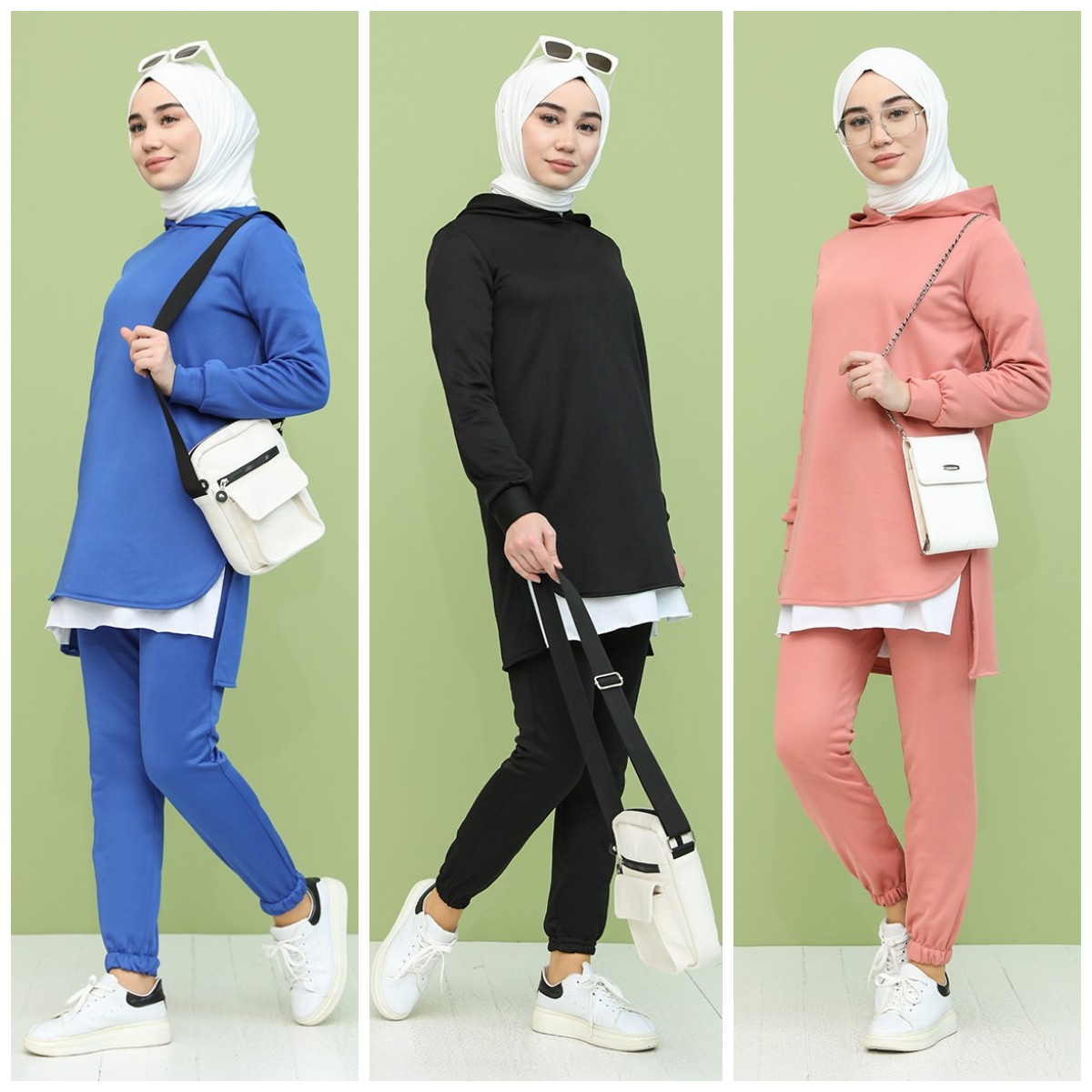 Two Pieces  Casual Cotton Woman Female  Tracksuit Sets Hoodie  Muslim Fashion Sportswear Long Sleeves Top Jogging Suits Outfit