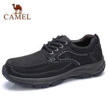 Zapatos CAMEL de piel auténtica para hombre, zapatos informales de trabajo grandes, calzado resistente al agua ligero con Tendon, calzado de piel de vaca mate para hombre