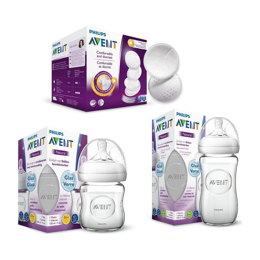 Philips Avent-jeu de flacons en verre | 1x240 Ml, 1x120 Ml) + 30 coussinets d'allaitement