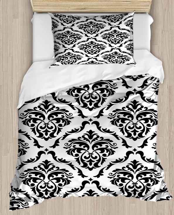 Else Black White Ethnic Damask Vintage 4 Piece 3D Print Cotton Satin Single Duvet Cover Bedding Set Pillow Case Bed Sheet|Duvet Cover| |  - title=