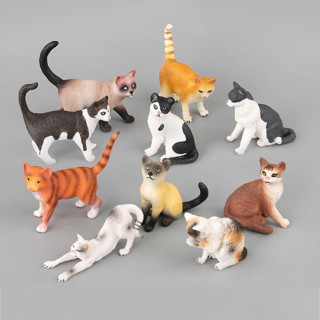 10 styles Montessori Animals Cat Model Suit Home Decorations Action Figures Educational Learning Toys For Children Kids GiftsAction & Toy Figures