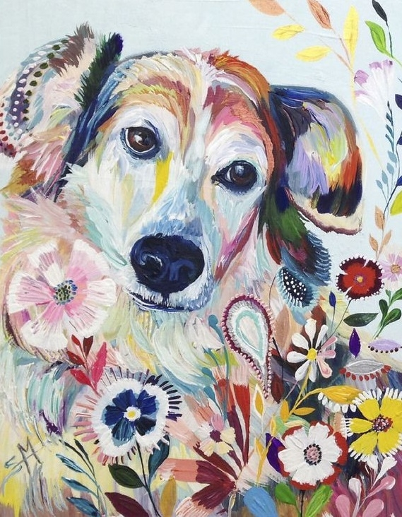 Painting By Numbers Flower Dog, 40x50 Cm