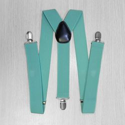 Suspenders for trousers wide (3.5 cm, 3 clips, mint) 52873