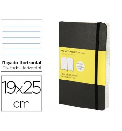 MOLESKINE NOTEBOOK SOFTCOVER HORIZONTAL STRIPED 192 SHEETS COLOR OFF BLACK WITH RUBBER 190X250 MM