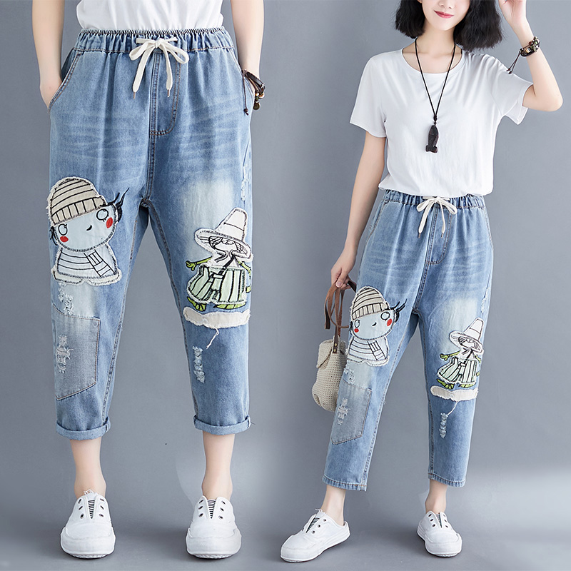 2020 Plus Size Jeans Women Cartoon Pants Loose Trousers Ripped Female Boyfriend Jeans Mujer  Hole Woman Pant