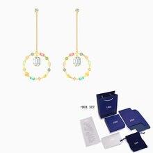 Модные новые радужные золотые серьги swa очаровательный цвет