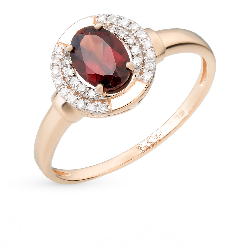 Gold Ring With Garnet And Diamonds Sunlight Sample 585