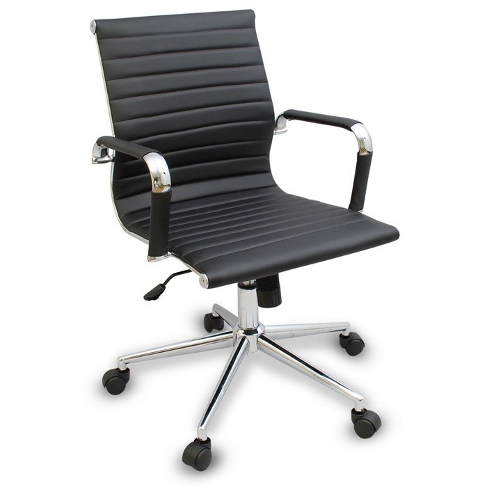 Office Armchair BUDAPEST, Rotatable, Gas, Tilt, Similpiel Black